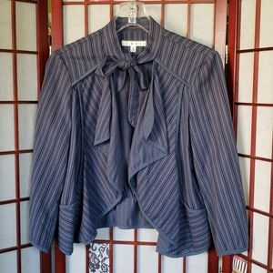 CAbi open jacket with neck tie and ruffled M